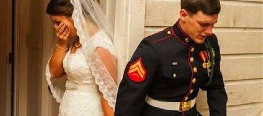 Marino y su novia oran juntos antes de la boda