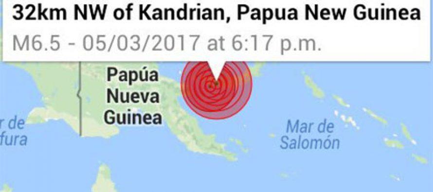 Sismo de 6.5 grados sacude Nueva Guinea