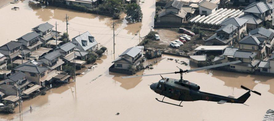 Sube a 56 el número de muertos en inundaciones que azotan Japón
