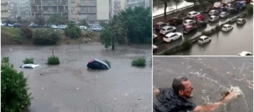Severa Tormenta golpea Palermo , generando inundaciones . Italia Videos