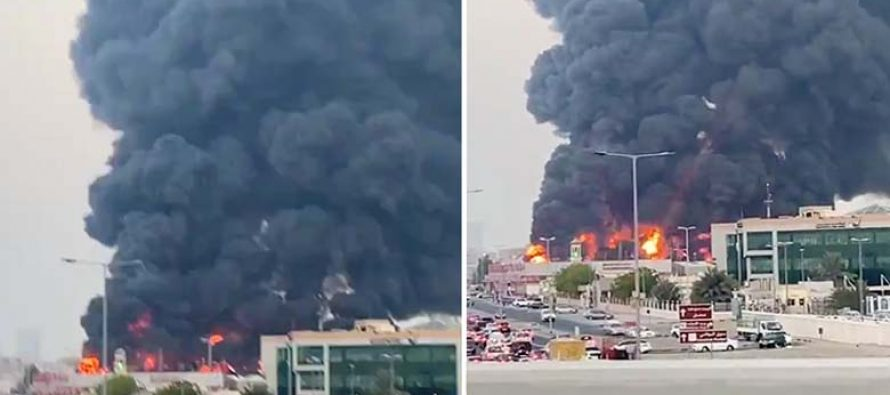 Se desata un descomunal incendio en un mercado de los Emiratos Árabes